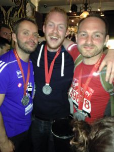 DLS London Marathon runner Charlie celebrating post-race.
