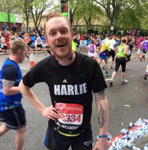 DLS London Marathon runner Charlie during the marathon.