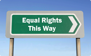 "A directional sign that states ""equal rights this way"""