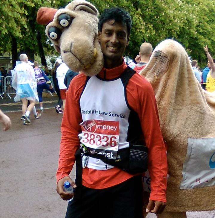 DLS London Marathon runner Jaisal post-race.