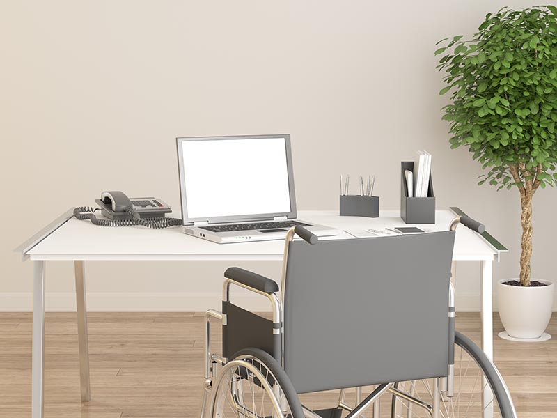 Wheelchair in office